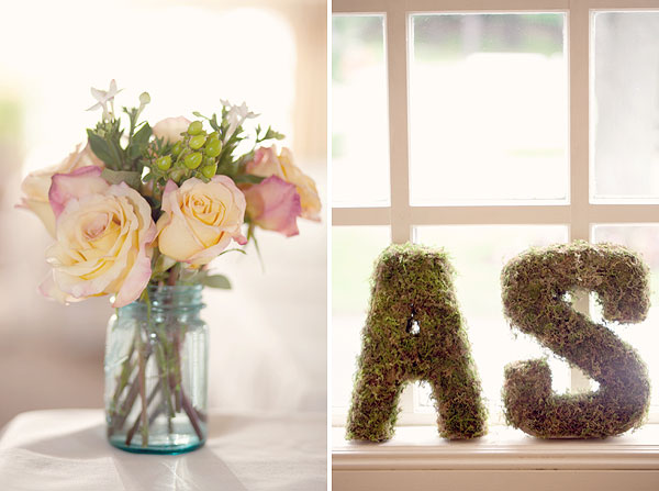 flowers in ball jar, vintage chic, grass initials, Inn at Longshore, Westport, CT Wedding Pictures Photos, Victoria Souza Photography, vintage, outdoor ceremony, water, ocean, Best CT Wedding Photographer