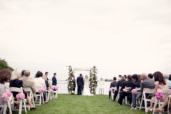 jewish outdoor ceremony, chuppah, pink peonies, Inn at Longshore, Westport, CT Wedding Pictures Photos, Victoria Souza Photography, vintage, outdoor ceremony, water, ocean, Best CT Wedding Photographer