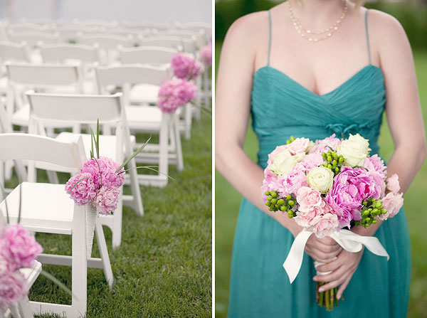 pink peonies, ceremony decoration, bridesmaid bouquet flowers, teal dress, Inn at Longshore, Westport, CT Wedding Pictures Photos, Victoria Souza Photography, vintage, outdoor ceremony, water, ocean, Best CT Wedding Photographer