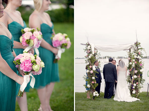 jewish outdoor ceremony chuppah, pink peonies bridesmaid bouquet flowers teal dress, Inn at Longshore, Westport, CT Wedding Pictures Photos, Victoria Souza Photography, vintage, outdoor ceremony, water, ocean, Best CT Wedding Photographer