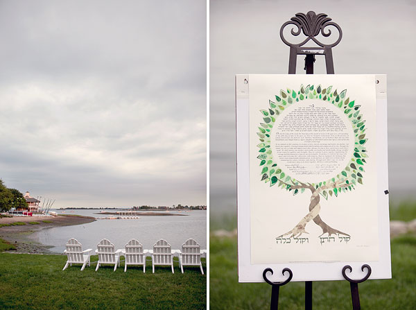 outdoor jewish ceremony, ketubah, white adirandack chairs, Inn at Longshore, Westport, CT Wedding Pictures Photos, Victoria Souza Photography, vintage, outdoor ceremony, water, ocean, Best CT Wedding Photographer
