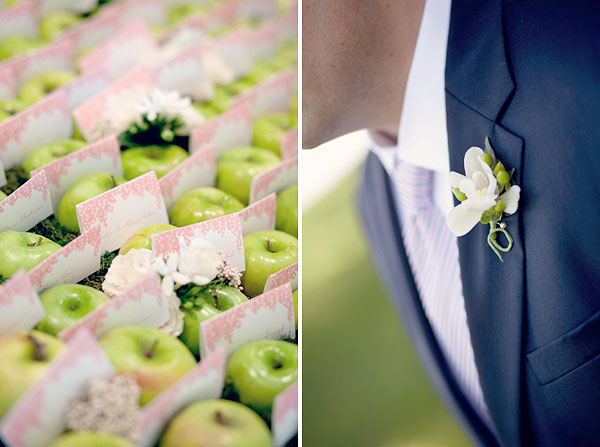 green apples pink escort cards, white orchid boutonniere, Inn at Longshore, Westport, CT Wedding Pictures Photos, Victoria Souza Photography, vintage, outdoor ceremony, water, ocean, Best CT Wedding Photographer