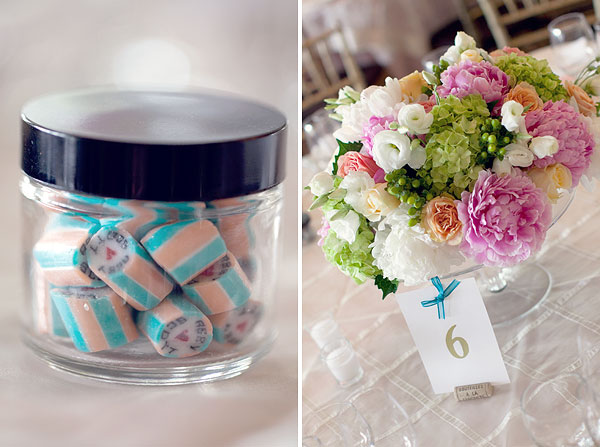 personalized candy, favors, pink, teal, pink white green peonies, table centerpiece, Inn at Longshore, Westport, CT Wedding Pictures Photos, Victoria Souza Photography, vintage, outdoor ceremony, water, ocean, Best CT Wedding Photographer
