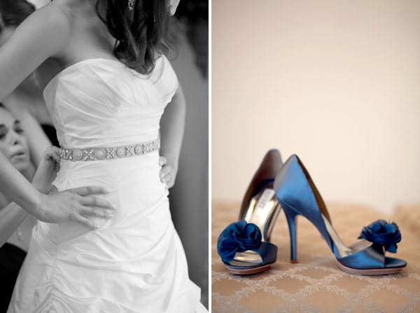 paloma blanca wedding gown, badgley mischka blue shoes, Guilford Yacht