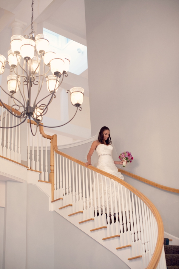 paloma blanca wedding gown, bride walking down stairs, Guilford Yacht Club, Guilford, CT,  Wedding Pictures Photos, Victoria Souza Photography, Best CT Wedding Photographer