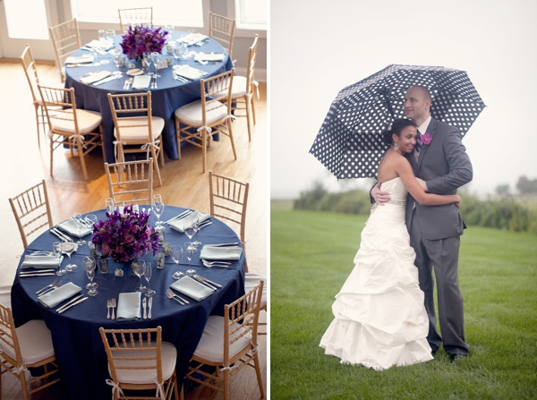 blue tablecloths, purple flowers centerpiece, polka dot umbrella, Guilford Yacht Club, Guilford, CT,  Wedding Pictures Photos, Victoria Souza Photography, Best CT Wedding Photographer