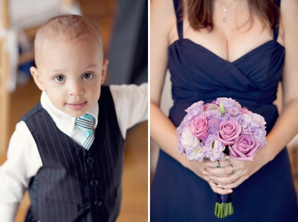 ring bearer tie vest, bridesmaid blue dress purple pink flowers, Guilford Yacht Club, Guilford, CT,  Wedding Pictures Photos, Victoria Souza Photography, Best CT Wedding Photographer