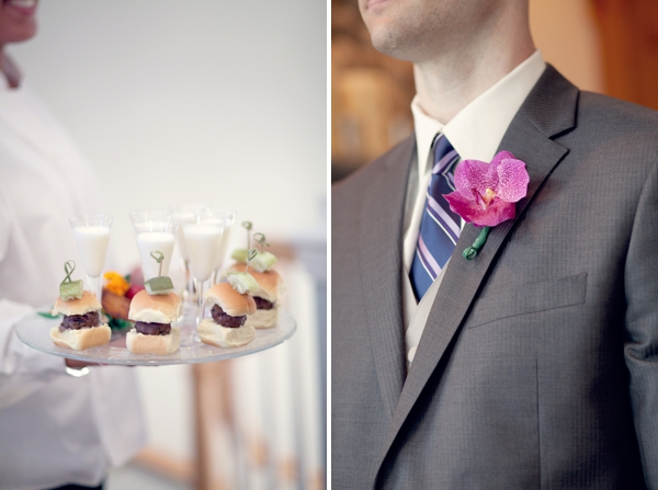 cheeseburger sliders and milkshakes, pink orchid boutonniere, Guilford Yacht Club, Guilford, CT,  Wedding Pictures Photos, Victoria Souza Photography, Best CT Wedding Photographer