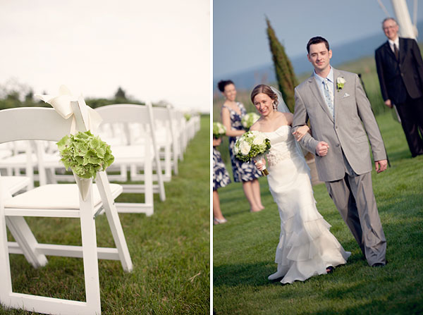 white chairs, ceremony, green flowers, Guilford Yacht Club, Guilford, CT Wedding Pictures Photos, Victoria Souza Photography, Best CT Wedding Photographer