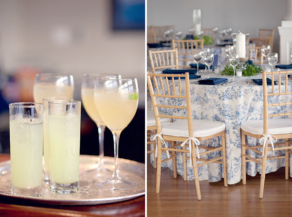 lemonade, blue white table linens, Guilford Yacht Club, Guilford, CT Wedding Pictures Photos, Victoria Souza Photography, Best CT Wedding Photographer