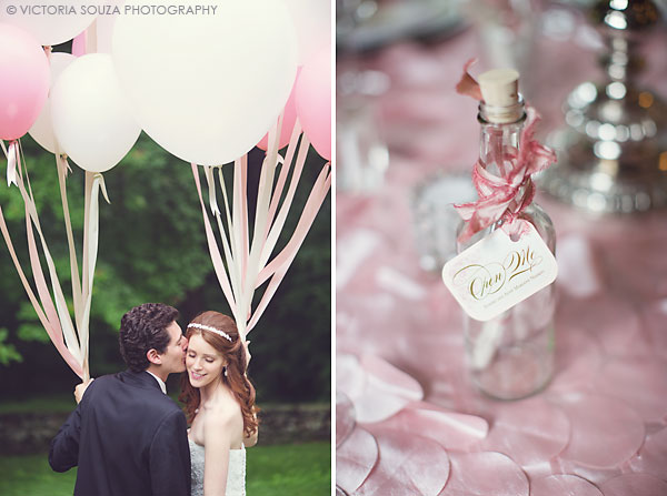 pink white balloons, message in a bottle, Lord Thompson Manor, Thompson, CT, elegant, luxury, Wedding Pictures Photos, Victoria Souza Photography, Best CT Wedding Photographer