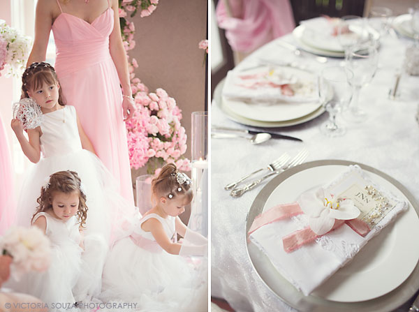 flower girls, white orchid pink ribbon white vintage lace napkins table setting, Lord Thompson Manor, Thompson, CT, elegant, luxury, Wedding Pictures Photos, Victoria Souza Photography, Best CT Wedding Photographer