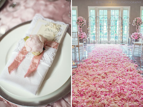 pink rose petals ceremony, pink peony white vintage lace napkins tablescape, Lord Thompson Manor, Thompson, CT, elegant, luxury, Wedding Pictures Photos, Victoria Souza Photography, Best CT Wedding Photographer