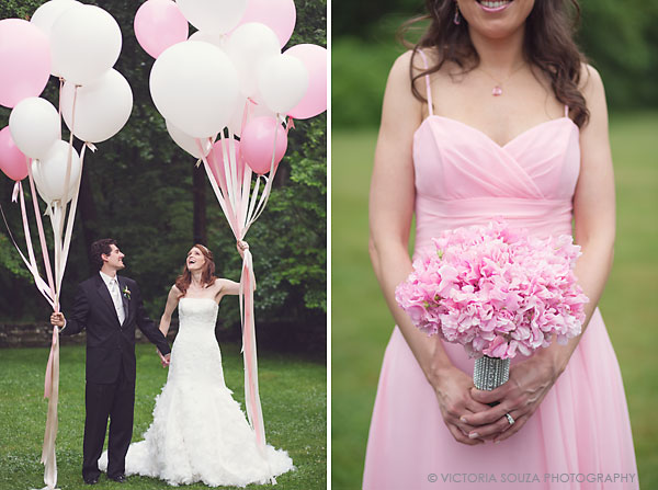white pink balloons bride groom, pink bridesmaid pink bouquet, Lord Thompson Manor, Thompson, CT, elegant, luxury, Wedding Pictures Photos, Victoria Souza Photography, Best CT Wedding Photographer
