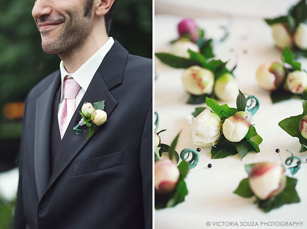 boutonniere, pink tie, Lord Thompson Manor, Thompson, CT, elegant, luxury, Wedding Pictures Photos, Victoria Souza Photography, Best CT Wedding Photographer