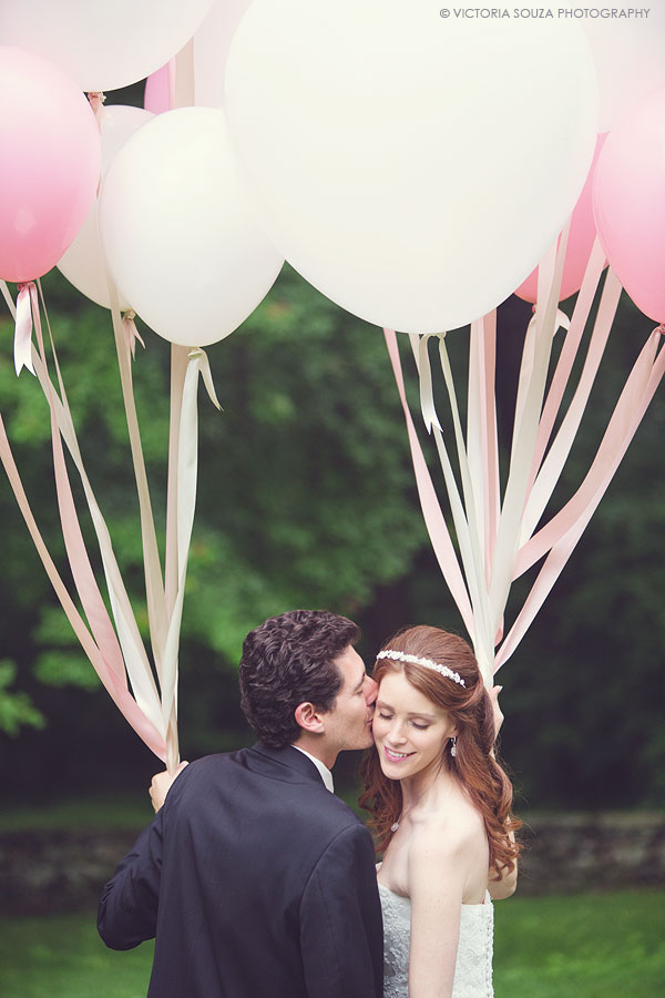 Lord Thompson Manor, Thompson, CT, bridal and groom, white lace, white pink balloons, Wedding Pictures Photos, Victoria Souza Photography, Best CT Wedding Photographer