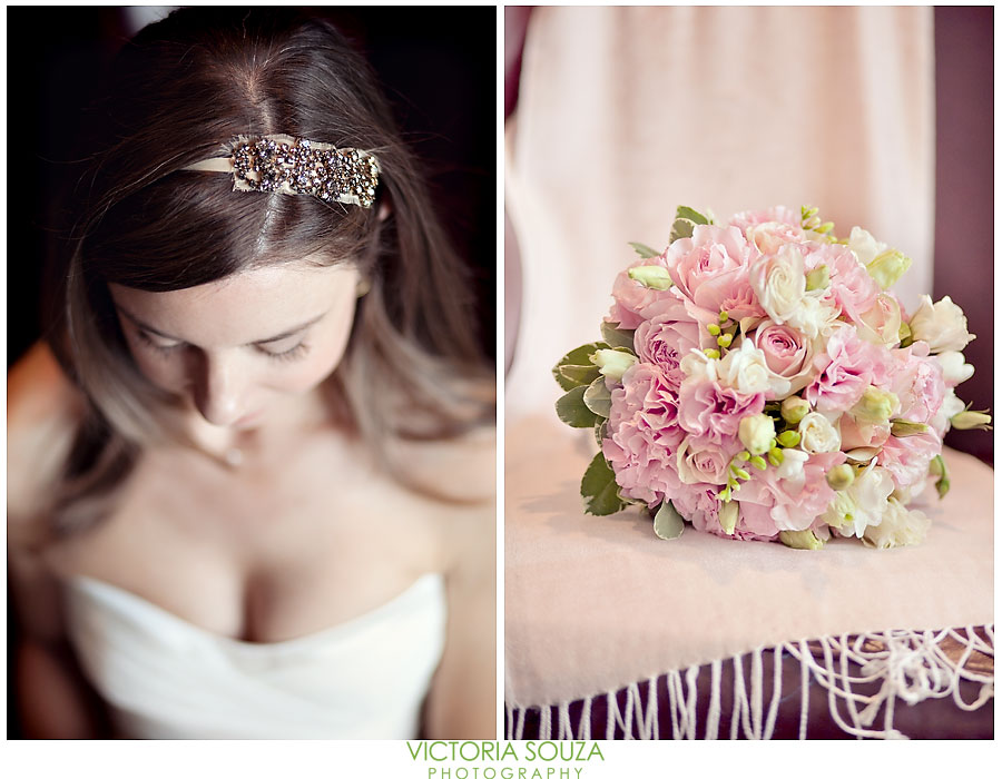 Indian Harbor Yacht Club, Morello, Greenwich, CT Wedding Pictures Photos, Victoria Souza Photography, wedding bride headband, pink flowers, Best CT Wedding Photographer