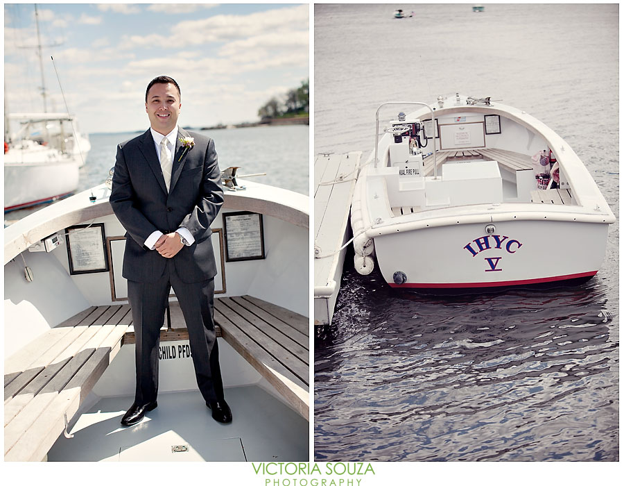 Indian Harbor Yacht Club, Morello, Greenwich, CT Wedding Pictures Photos, Victoria Souza Photography, groom boat, Best CT Wedding Photographer