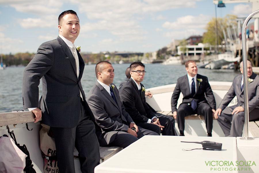 Indian Harbor Yacht Club, Morello, Greenwich, CT Wedding Pictures Photos, Victoria Souza Photography, groomsmen boat, Best CT Wedding Photographer