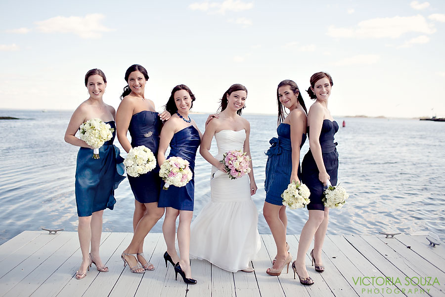 Indian Harbor Yacht Club, Morello, Greenwich, CT Wedding Pictures Photos, Victoria Souza Photography, bridal party, blue bridesmaids, Best CT Wedding Photographer