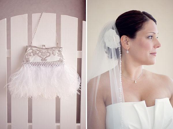 feather jewel bridal purse, white hair fascinator, Cliff House Resort, Ogunquit, ME, Wedding Pictures Photos, Victoria Souza Photography, Best CT Wedding Photographer