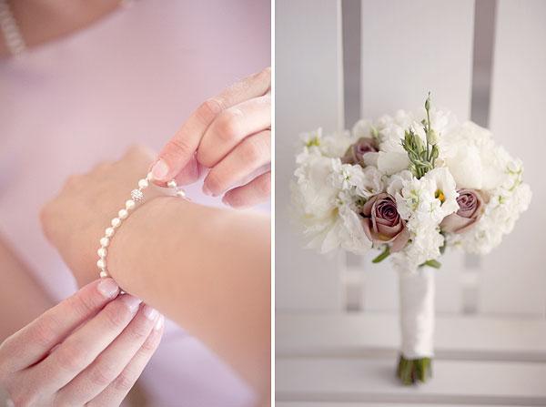 pearl bracelet, pink peonies, amnesia roses, bridal bouquet, Cliff House Resort, Ogunquit, ME, Wedding Pictures Photos, Victoria Souza Photography, Best CT Wedding Photographer
