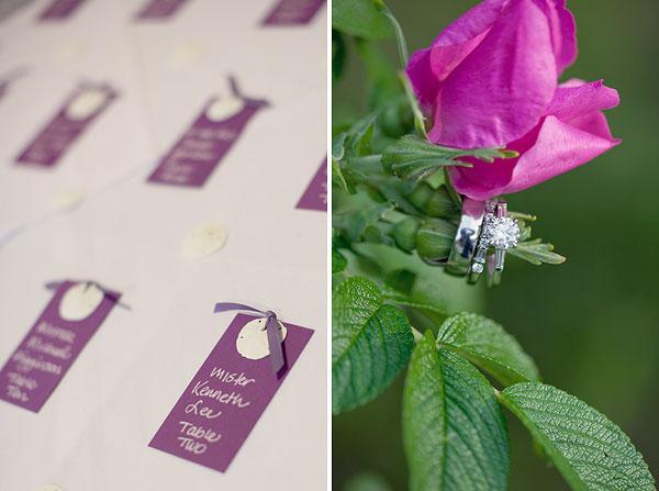 purple escort cards, sand dollar, pink saltwater roses, Cliff House Resort, Ogunquit, ME, Wedding Pictures Photos, Victoria Souza Photography, Best CT Wedding Photographer