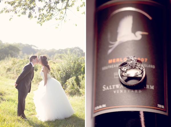 kiss, wedding rings, wine bottle, Saltwater Farms Vineyard, Stonington, CT,  Wedding Pictures Photos, Victoria Souza Photography, Best CT Wedding Photographer