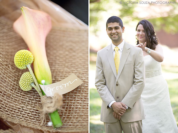 yellow groom tie, orange yellow boutonniere, Private Residence, Wilton, CT, Wedding Pictures Photos, Victoria Souza Photography, Best CT Wedding Photographer