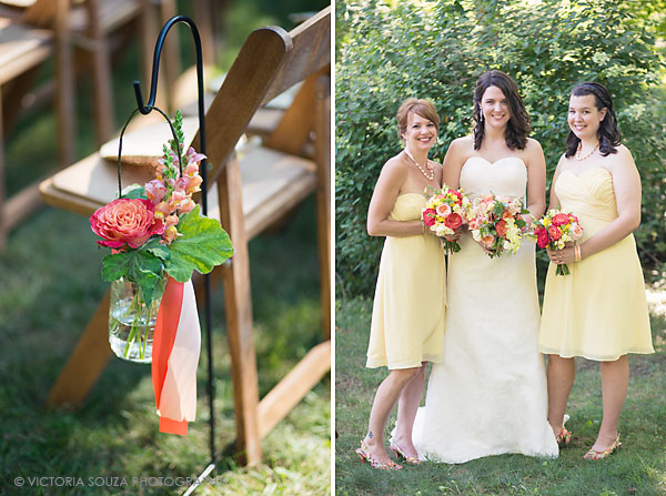 pink flowers mason jars ceremony, yellow bridemaids, Private Residence, Wilton, CT, Wedding Pictures Photos, Victoria Souza Photography, Best CT Wedding Photographer