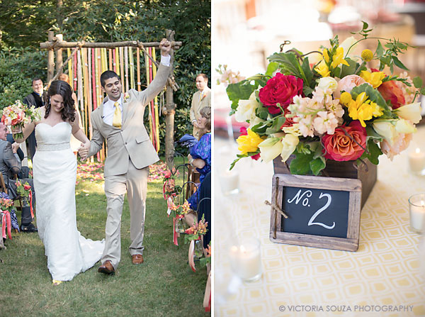 wooden frame table number, ribbon ceremony altar, Private Residence, Wilton, CT, Wedding Pictures Photos, Victoria Souza Photography, Best CT Wedding Photographer