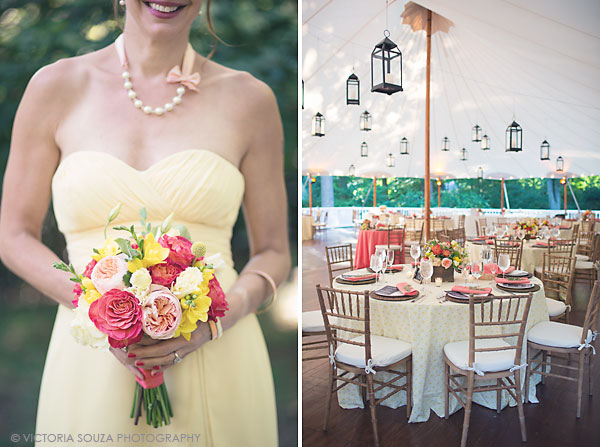 hanging lanterns tented wedding reception, yellow bridesmaid, pink orange yellow flowers, Private Residence, Wilton, CT, Wedding Pictures Photos, Victoria Souza Photography, Best CT Wedding Photographer