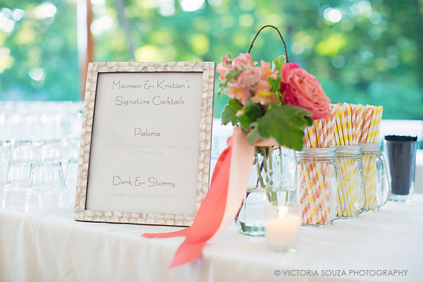 signature drinks, striped straws, mason jars, Private Residence, Wilton, CT, Wedding Pictures Photos, Victoria Souza Photography, Best CT Wedding Photographer