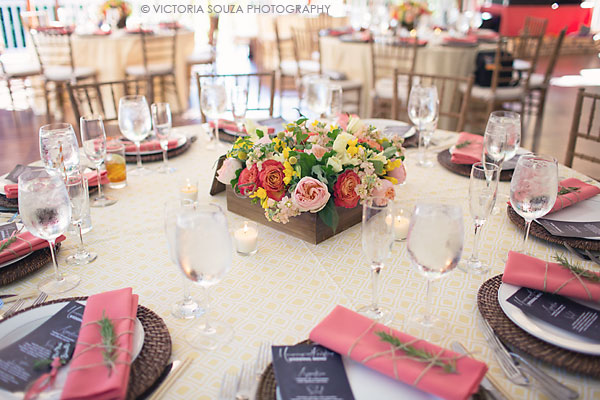 yellow pattern tablecloths, pink napkins, rosemary, square wooden floral centerpiece, Private Residence, Wilton, CT, Wedding Pictures Photos, Victoria Souza Photography, Best CT Wedding Photographer