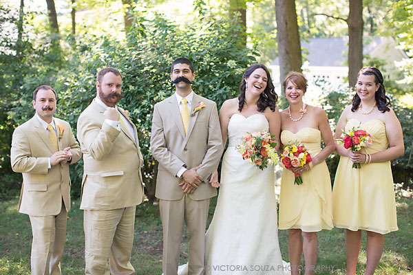 yellow bridesmaids, yellow tie groomsmen, fake mustache, Private Residence, Wilton, CT, Wedding Pictures Photos, Victoria Souza Photography, Best CT Wedding Photographer