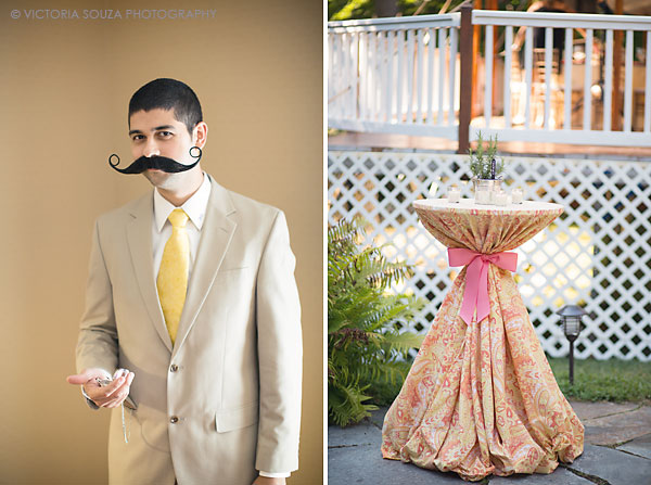 yellow tie, pink orange outdoor table cloth, Private Residence, Wilton, CT, Wedding Pictures Photos, Victoria Souza Photography, Best CT Wedding Photographer