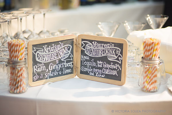 handmade handwritten chalkboard, signature drink, striped straws, Private Residence, Wilton, CT, Wedding Pictures Photos, Victoria Souza Photography, Best CT Wedding Photographer