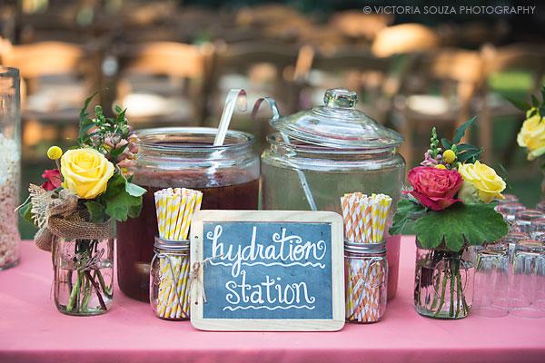 drink station, striped straws, orange yellow flowers mason jars, Private Residence, Wilton, CT, Wedding Pictures Photos, Victoria Souza Photography, Best CT Wedding Photographer