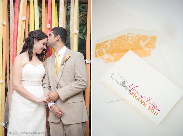 yellow orange pink ribbon ceremony altar, orange pink wedding thank you cards, Private Residence, Wilton, CT, Wedding Pictures Photos, Victoria Souza Photography, Best CT Wedding Photographer