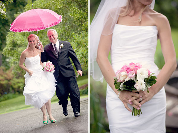 bride and father, green wedding shoes, pink umbrella, Burr Homestead, Fairfield, CT Wedding Pictures Photos, Victoria Souza Photography, Best CT Wedding Photographer