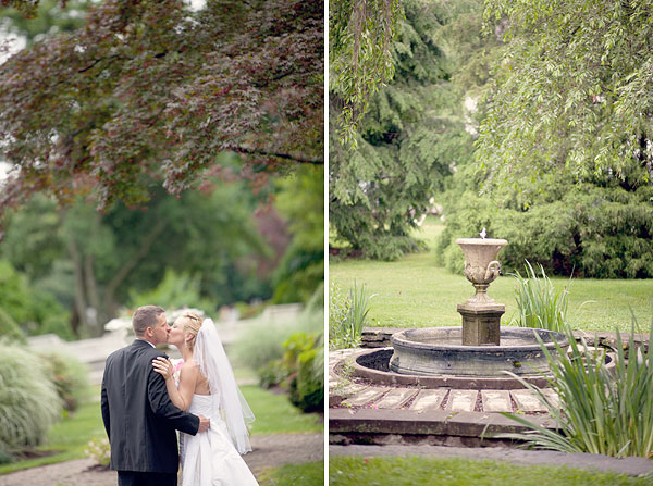 kiss, fountain, bride and groom, Burr Homestead, Fairfield, CT Wedding Pictures Photos, Victoria Souza Photography, Best CT Wedding Photographer