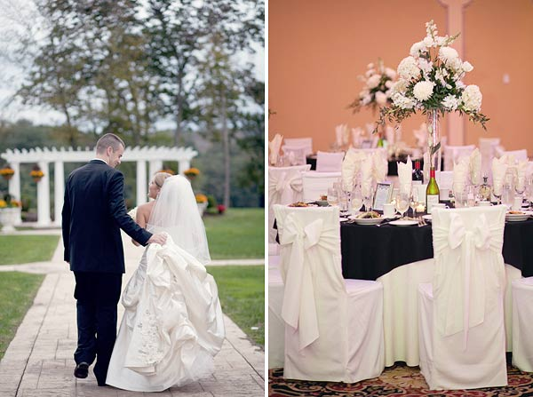 white chair covers, white and black centerpieces, waterview, monroe, ct, Wedding Pictures Photos, Victoria Souza Photography, Best CT Wedding Photographer