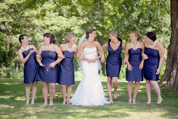 Jim Helm wedding gown, lace, navy blue bridesmaids dresses, white pearl necklaces, Inn at Mystic, Mystic, CT, Wedding Pictures Photos, Victoria Souza Photography, Best CT Wedding Photographer
