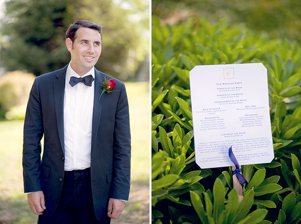groom blue bow tie, ceremony program fan, Inn at Mystic, Mystic, CT, Wedding Pictures Photos, Victoria Souza Photography, Best CT Wedding Photographer
