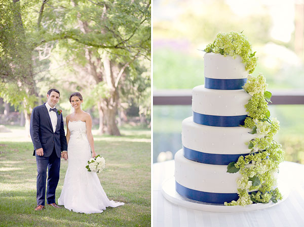 Jim Helm wedding gown, lace, groom blue bow tie, navy blue white cake, green flowers, Inn at Mystic, Mystic, CT, Wedding Pictures Photos, Victoria Souza Photography, Best CT Wedding Photographer