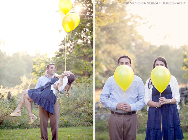 open field, sun, yellow white balloons, Weir Farm, Wilton, CT, Wedding Engagement Pictures Photos, Victoria Souza Photography, Best CT Wedding Photographer